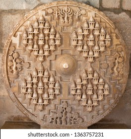 Bas-relief in famous ancient Ranakpur Jain temple in Rajasthan state, India. Carving of Jambudweep, the Jain depiction of the terrestrial world with holy Mount Meru