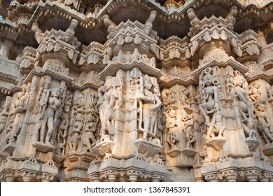 Bas-relief in famous ancient Ranakpur Jain temple in Rajasthan state, India