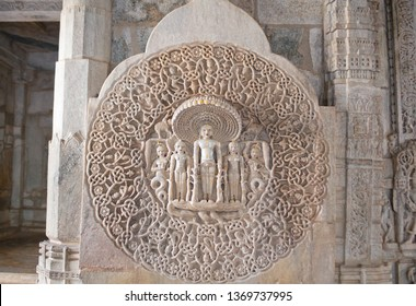 Bas-relief in famous ancient Ranakpur Jain temple in Rajasthan state, India. The deity of Shri Parshwanathjee with 108 heads of snakes and numerous tails. One cannot find the end of the tails