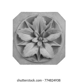 bas-relief in the form of gypsum paintings with floral pattern