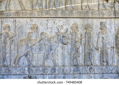 Bas-relief on the wall in Persepolis, ancient capital of Achaemenid Persia, Iran.