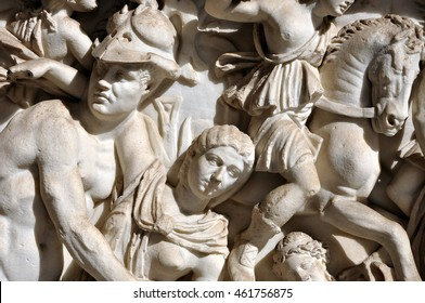 Bas-relief and sculpture details in stone of Roman Gods and Emperors
