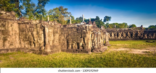 Bas-relief at Terrace of the Elephants at Angkor Thom temple complex. Siem Reap. Cambodia. Panorama