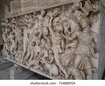 Bas-relief of tombstone sarcophagus battle of the Greeks and the Amazons, Vatican Museums Rome