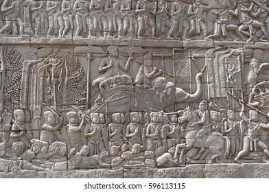 Bas-reliefs in Angkor Thom complex, Cambodia