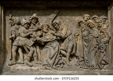 BAS-RELIEFS IN ARCHITECTURE. Bas-relief featuring with scenes from the Bible. Bamberg. Germany. Europe. European travel.