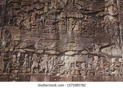 The bas-reliefs at  Bayon temple about khamer history, Siem Reap, Combodia.