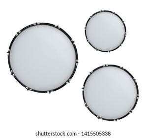 bass drums isolated on white in the closeup