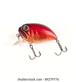 Bass fishing lure crank with hooks. Spinning and casting. Isolated