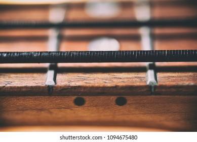 Bass guitar black nylon string close up