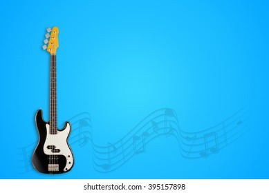 Bass Guitar and notes on blue background
