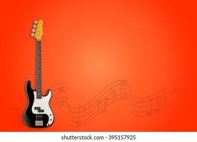 Bass Guitar and notes on red background