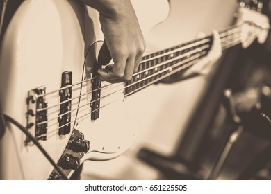 Bass guitar on stage