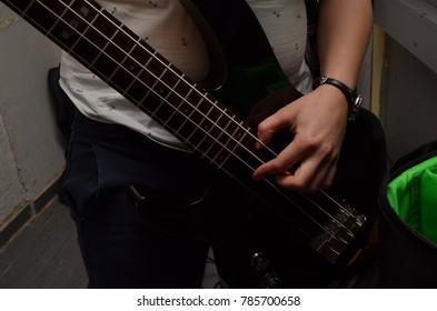 Bass guitar player on a gig