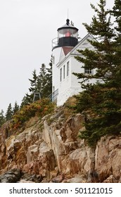 Bass Harbor Head Light in Acadia National Park, Maine (black and white).