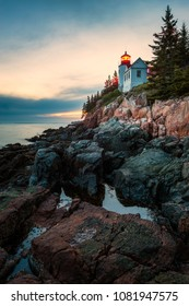 Bass Harbor Head Lighthouse in Acadia National Park, Tremont, Maine, USA around sunset