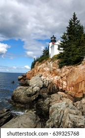 Bass Harbor Head Lighthouse in Acadia National Park in Maine, on Mount Desert Island, marks the entrance to Bass Harbor and Blue Hill Bay. The house is a private residence.