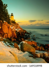 Bass Harbor Head Lighthouse in winter