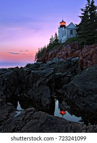 Bass Harbor Light at Sunset in Acadia National Park