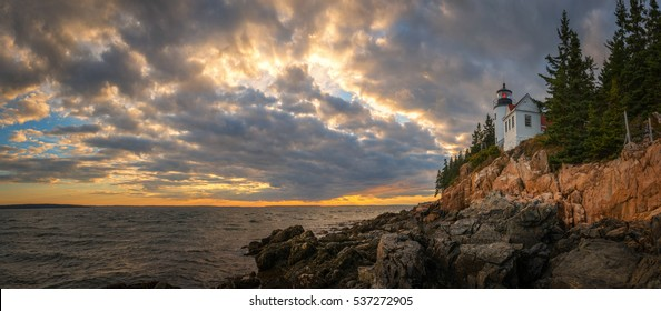 Bass Harbor Lighthouse panorama sunset.