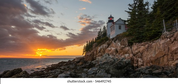 Bass Harbor Lighthouse panorama sunset