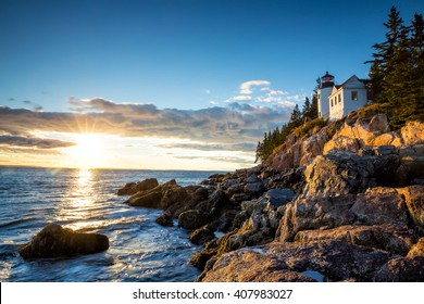 Bass Harbor Lighthouse at sunset Acadia National Park, Maine USA