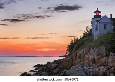 Bass Harbor lighthouse at sunset, Acadia National Park