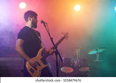 Bass player perform on stage. Stage light, smoke.