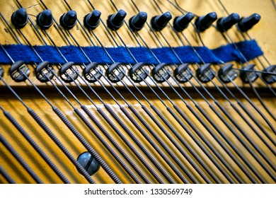 Bass strings, pegs and damper inside the old piano. The mechanism of musical instruments. Sound technology. Shallow depth of field. Close-up.