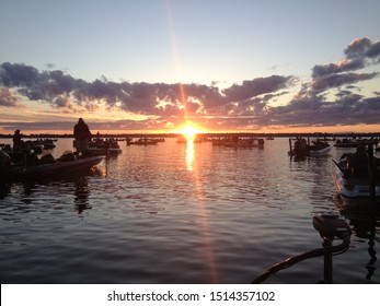 Bass Tournament Morning Sunrise Blastoff