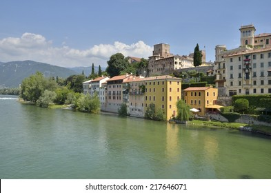 BASSANO DEL GRAPPA, ITALY - AUGUST 8: Cityscape next to the river Brenta on August 8, 2014 in  Bassano del Grappa, northern Italy.