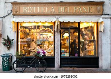 Bassano del Grappa, Italy - December 20, 2012: shop windows of the Bottega del pane