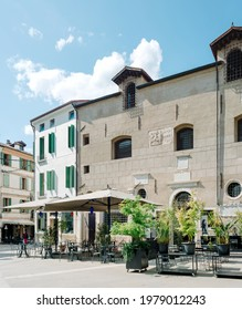Bassano del Grappa, Italy - May 3, 2021: Palazzo former seat of the pawnshop in piazzotto Montevecchio (old mountain square)