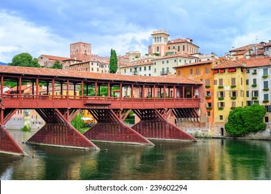 Bassano del Grappa, Veneto, Italy. The town is famous for grappa production. View to the wooden bridge and old grappa distillery.