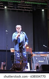 Bassano del Grappa, VI, Italy - April 29, 2017: Nomadi a famous Italian Musical Group and Carletti Beppe is the leader during a live concert