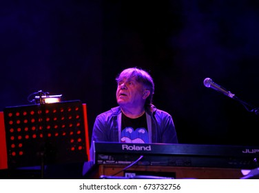 Bassano del Grappa, VI, Italy - April 29, 2017:  Carletti Beppe keyboard player of Nomadi a famous Italian Musical Group during a live concert