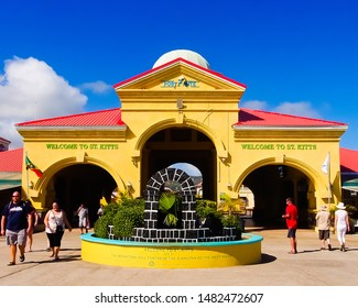 Basseterre, saint george/St. kitts-2/6/2017: beautiful gate of Porte zante cruise terminal and tourists