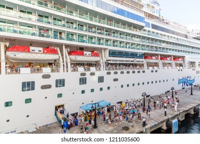 BASSETERRE, SAINT KITTS - December 9, 2014: Port Zante is the harbour in Basseterre, Saint KItts, which has grown into a shopping mecca thanks to cruise ships such as NCL and Royal Caribbean