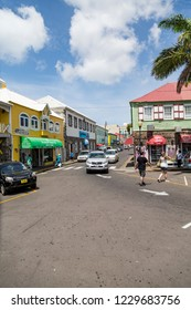 BASSETERRE, SAINT KITTS - May 18, 2015: Port Zante is the harbor in Basseterre, Saint Kitts, which has grown into a shopping mecca thanks to cruise ships such as NCL and Royal Caribbean