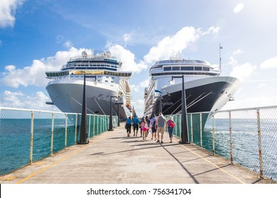 BASSETERRE, ST. KITS AND NEVIS 14 DECEMBER, 2016: Cruise passengers return to cruise ships at St Kitts Port Zante cruise ship terminal
