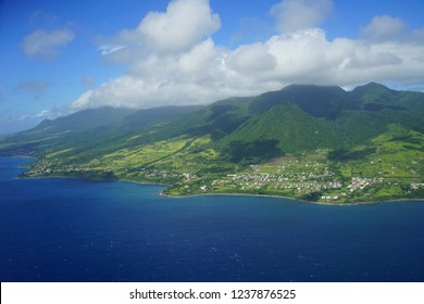 BASSETERRE, ST KITTS- 17 NOV 2018- Aerial view of the Caribbean island of St Kitts in approach to the Robert L. Bradshaw International Airport (SKB),  in the Federation of St Kitts and Nevis.