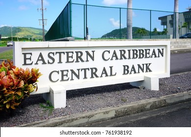 BASSETERRE, ST KITTS- 21 NOV 2017- Headquarters of the Eastern Caribbean Central Bank (ECCB), central bank for the Eastern Caribbean dollar, located in the Sir K. Dwight Venner building in St Kitts.