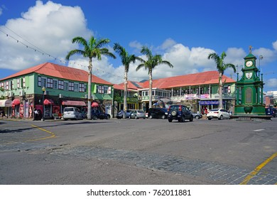 BASSETERRE, ST KITTS- 21 NOV 2017- Picadilly Circus Square in Basseterre, the largest city in the Federation of St Kitts and Nevis.