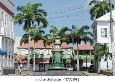 Basseterre, St. Kitts - June 12, 2016: Bank Street in the town of Basseterre, St. Kitts