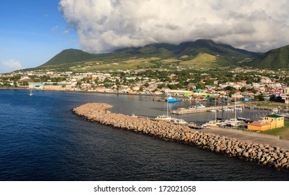 BASSETERRE, ST KITTS - NOVEMBER 5:  Basseterre waterfront pictured on November 5, 2013.  Basseterre is the capital of the island of St Kitts, one of the Leeward Islands in the West Indies.