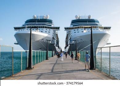 BASSETERRE, ST.KITTS - NOV 26, 2015 : Cruise ships Celebrity Silhouette and Eclipse docked in port of Basseterre, St. Kitts, the Caribbean on november 26th, 2015