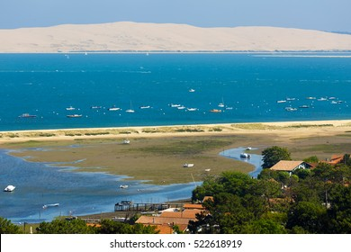 Bassin d'Arcachon landscape at low tide, view from the Cap-Ferret lighthouse on the Dune du Pyla, France