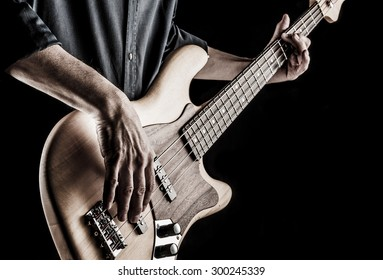 bassist playing electric bass guitar, effect picture