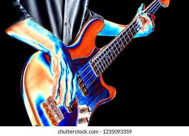 bassist playing an electric bass guitar,psychedelic artist iamge
