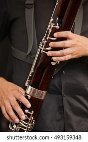 Bassoon in closeup musician hands